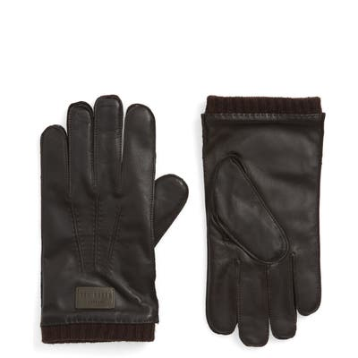 Ted Baker London Blokey Leather Gloves, Brown