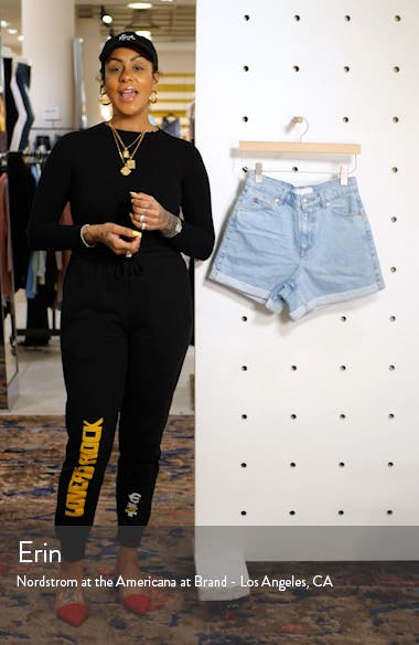 Roll Cuff Denim Mom Shorts, sales video thumbnail