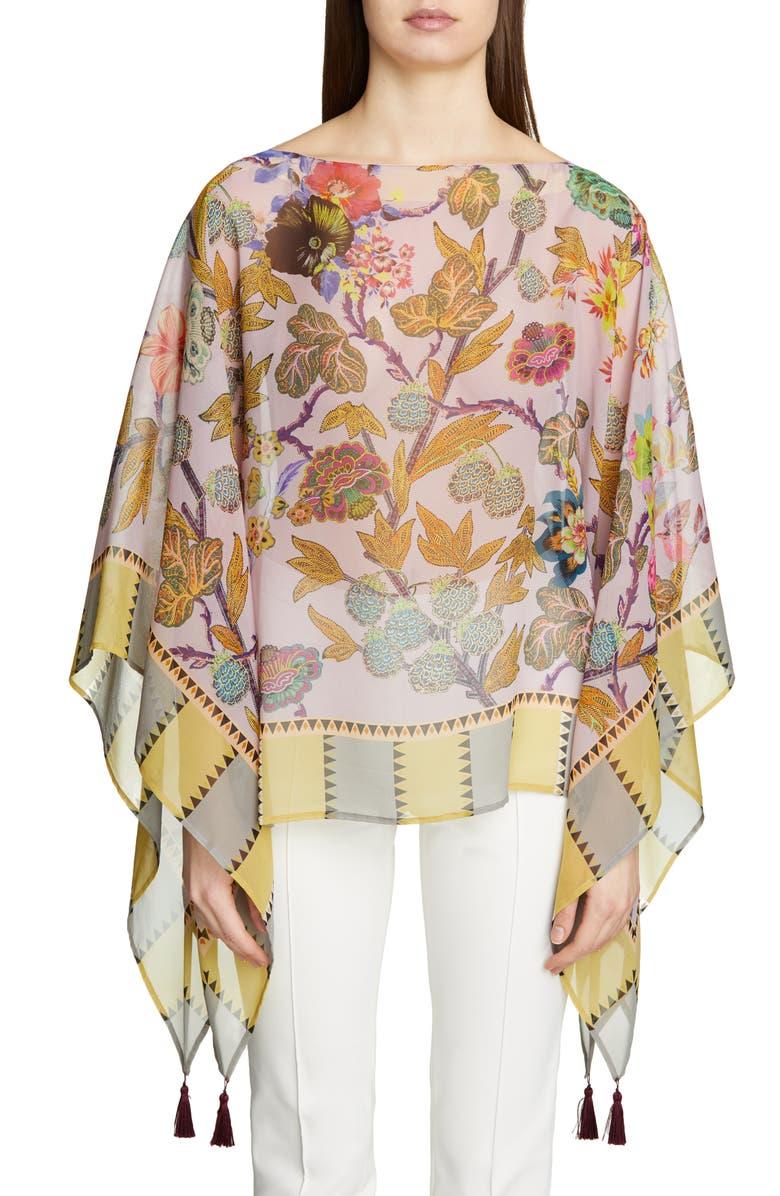 ETRO Pastel Floral Print Silk Poncho, Main, color, PURPLE