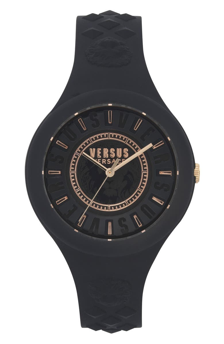 VERSUS VERSACE Fire Island Silicone Strap Watch, 39mm, Main, color, 001