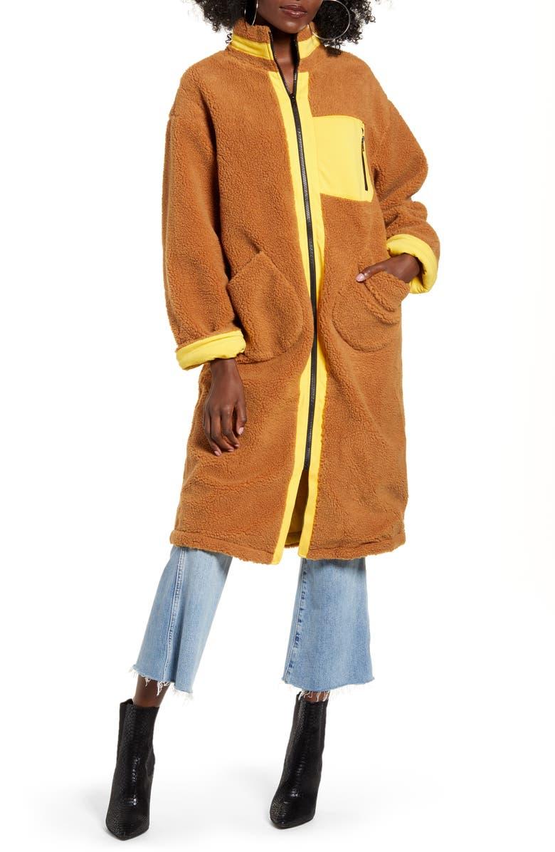 J.O.A. Zip Up Teddy Long Coat, Main, color, BROWN