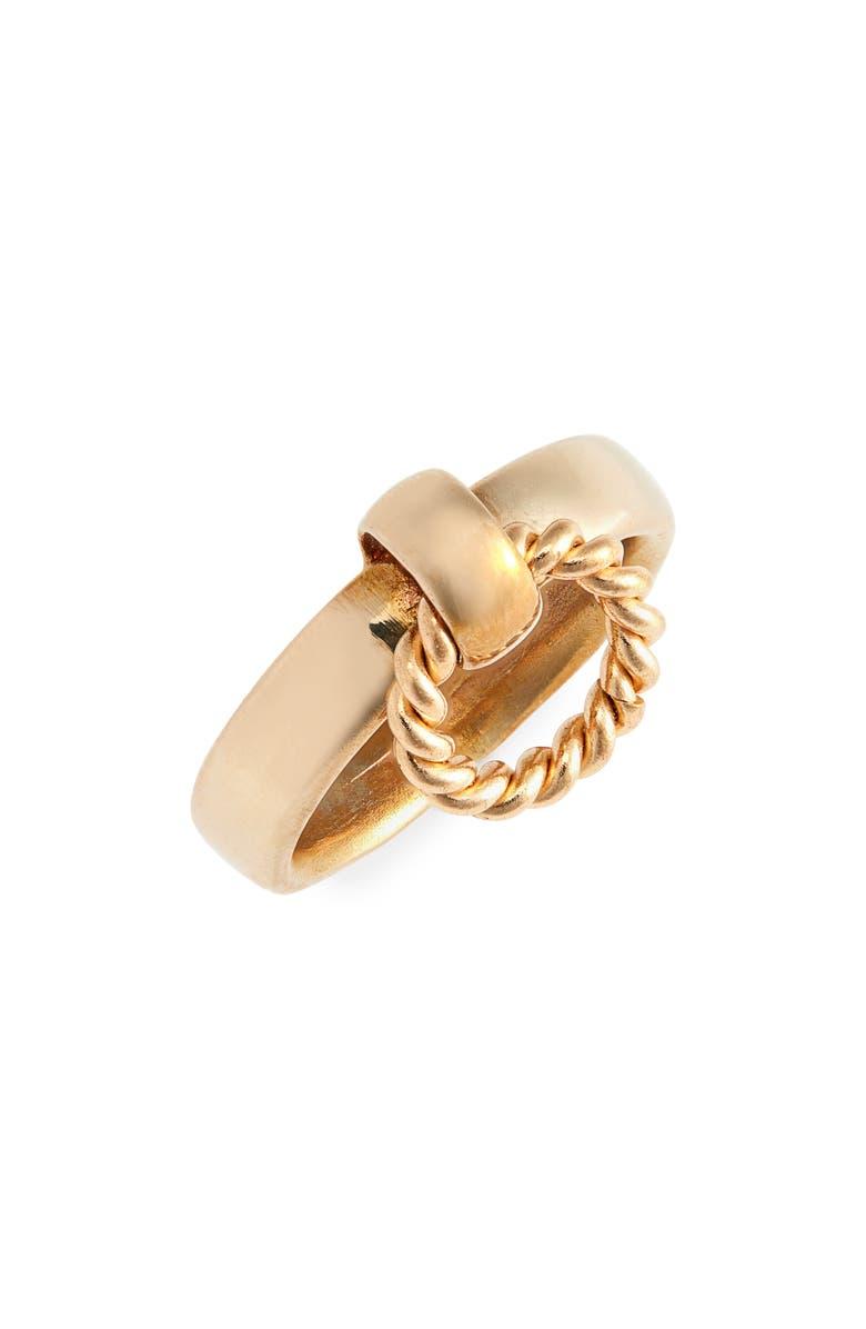 LAURA LOMBARDI Franca Twist Ring, Main, color, BRASS