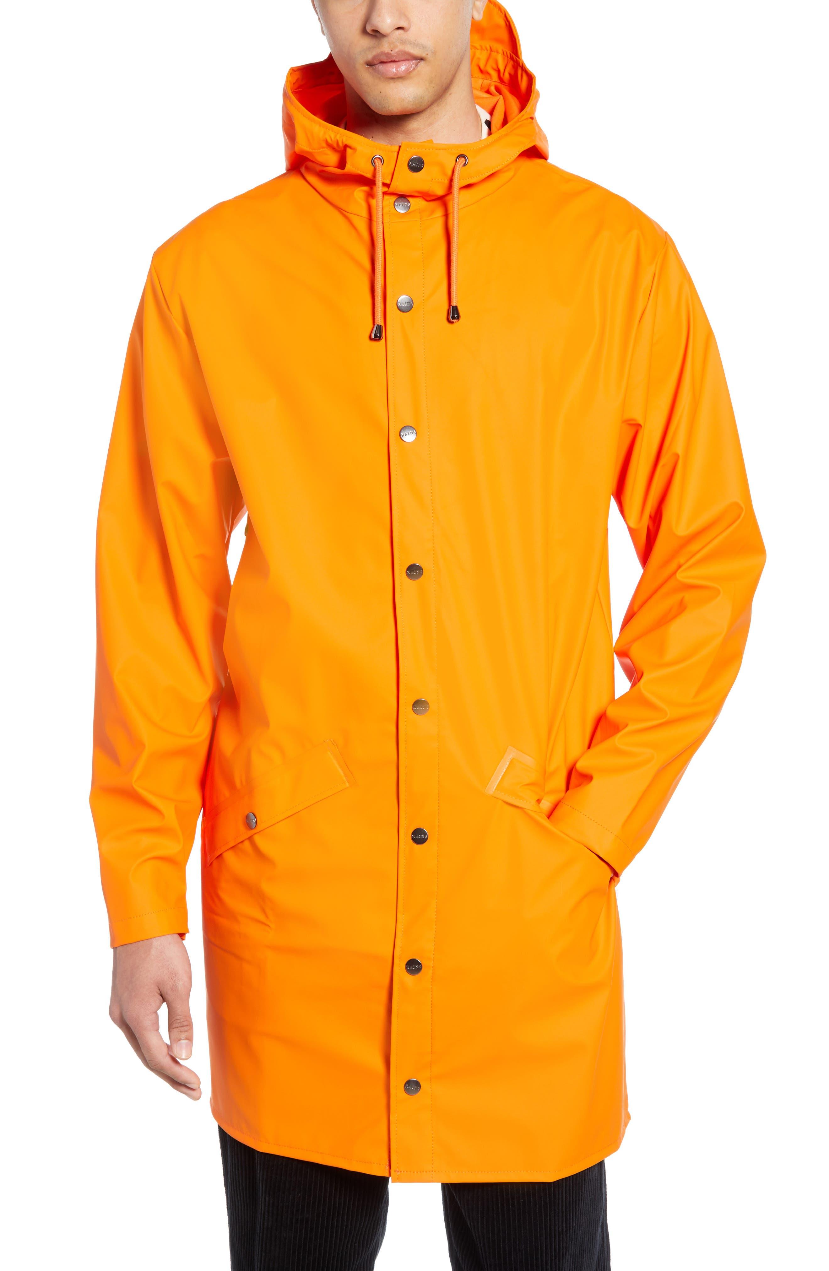 Rains Waterproof Hooded Long Rain Jacket, Orange
