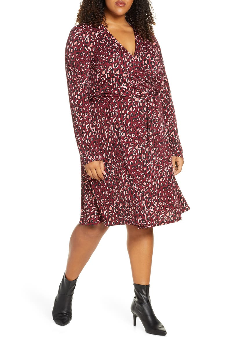 LEOTA Perfect Long Sleeve Faux Wrap Dress, Main, color, BOLD CHEETAH