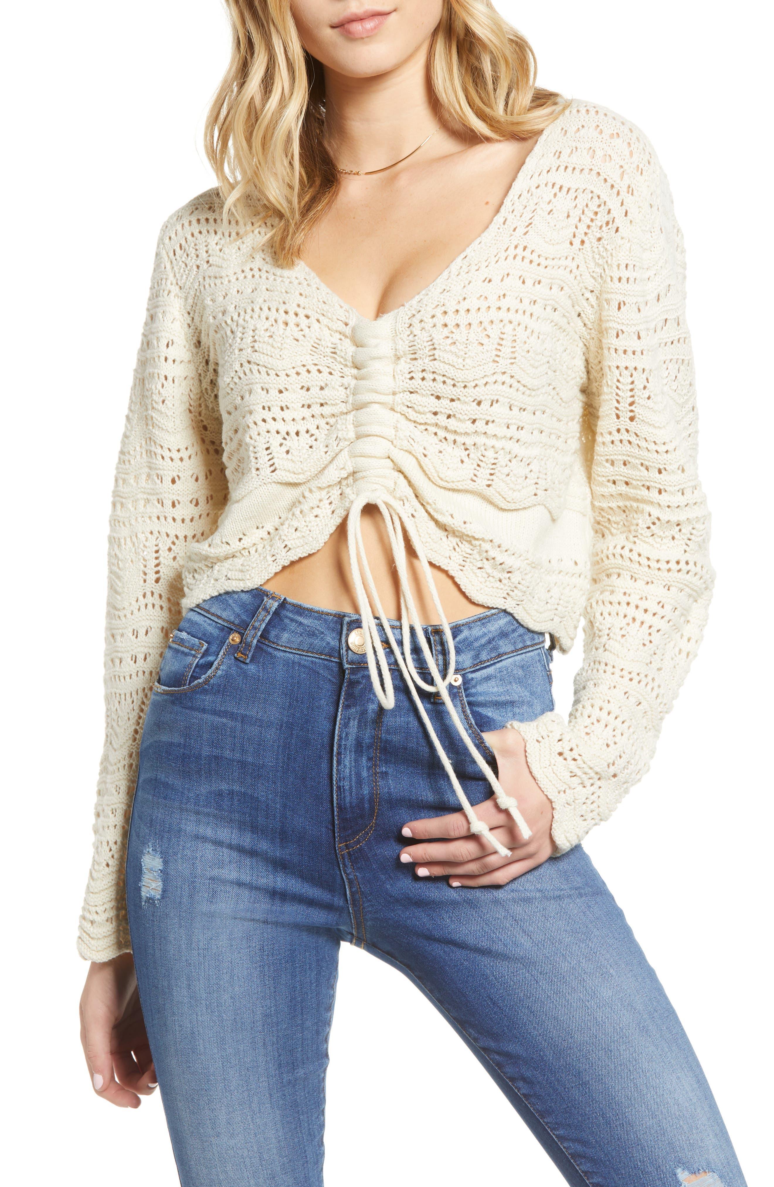 Women's 70s Shirts, Blouses, Hippie Tops Womens Moon River Pointelle Crop Sweater $65.00 AT vintagedancer.com