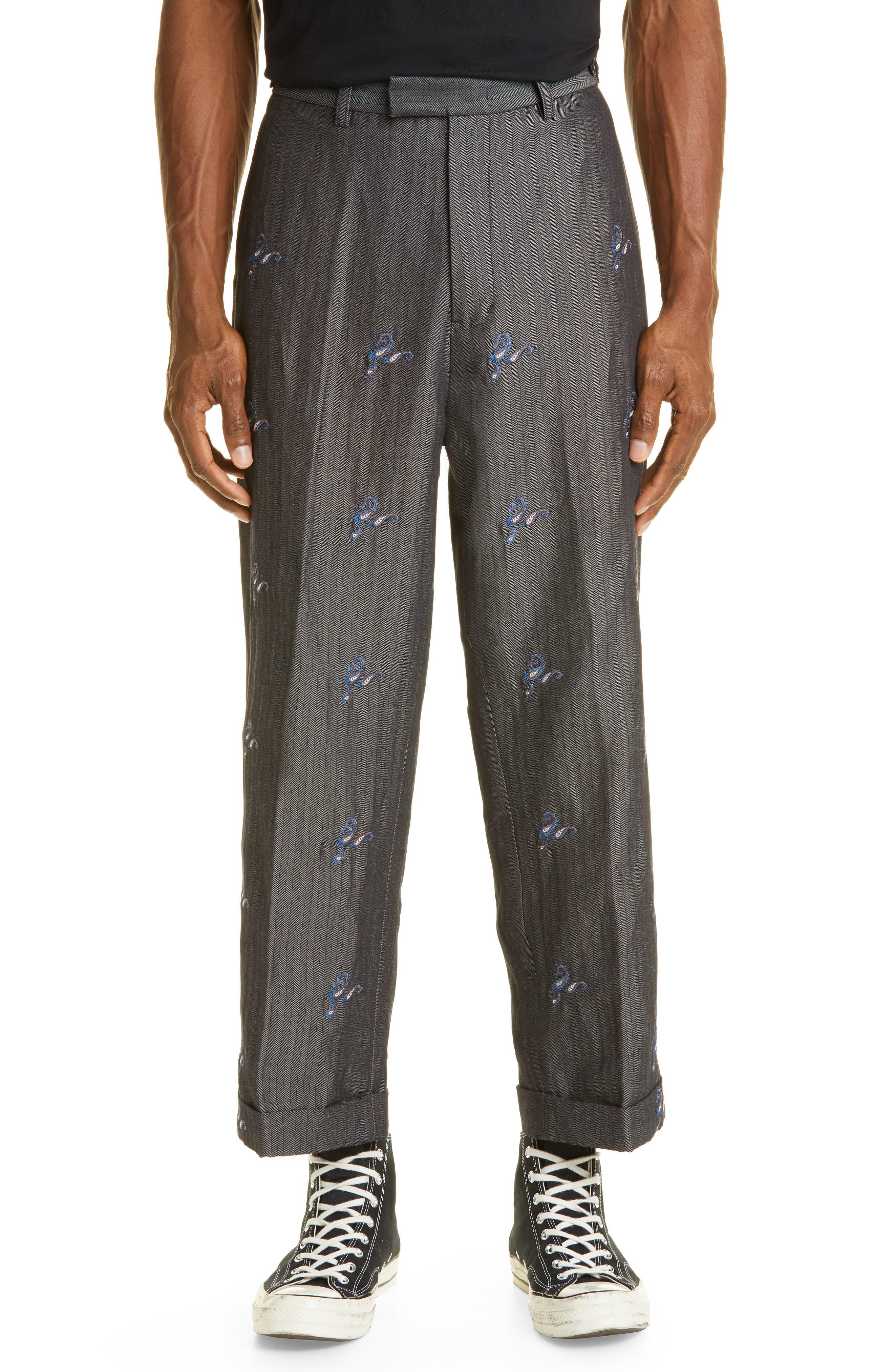 Embroidered Herringbone Crop Trousers