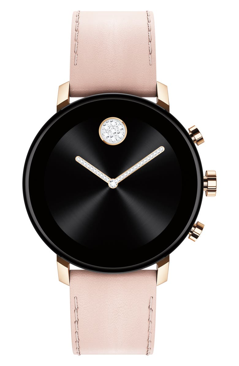 MOVADO Bold Connect 2.0 Leather Strap Smart Watch, 40mm, Main, color, PINK / CARNATION GOLD