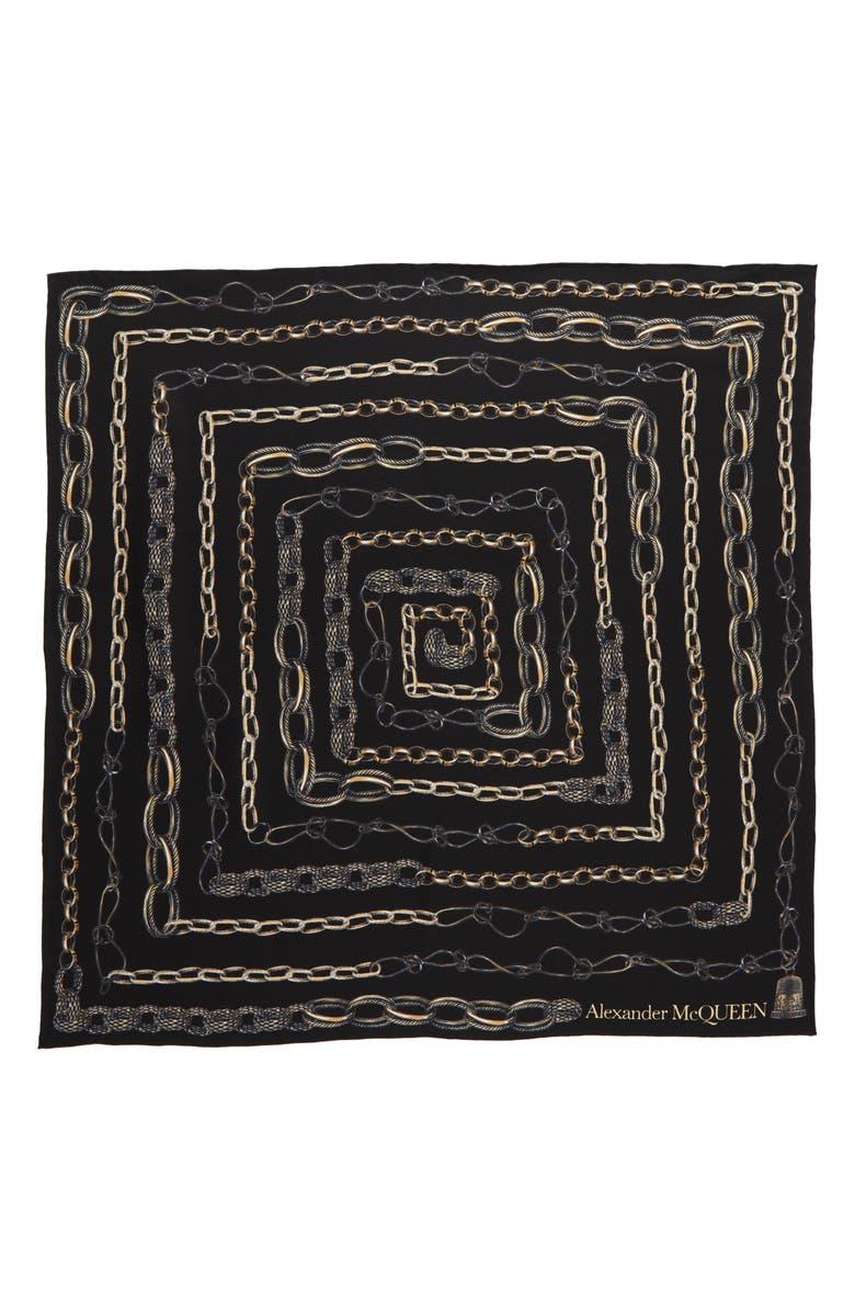 ALEXANDER MCQUEEN Timble Necklaces Silk Bandana Scarf, Main, color, BLACK/ GOLD