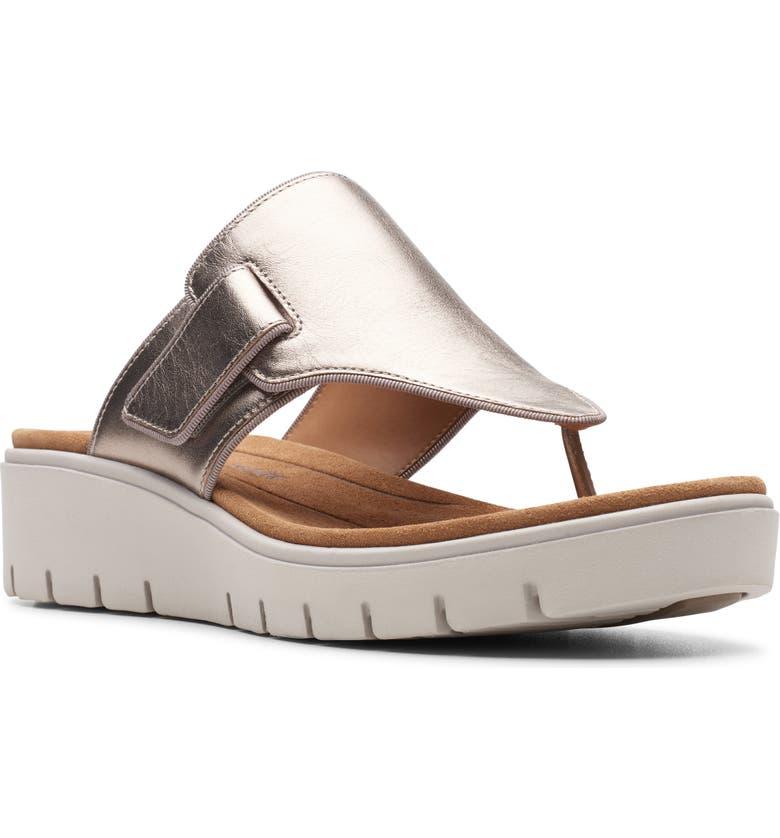 CLARKS<SUP>®</SUP> Un Karely Sea Slide Sandal, Main, color, GOLD METALLIC LEATHER