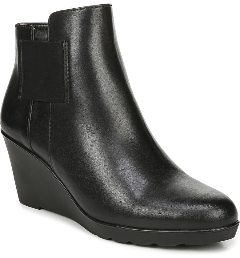 NATURALIZER Laila Water Resistant Wedge Bootie, Main, color, BLACK LEATHER
