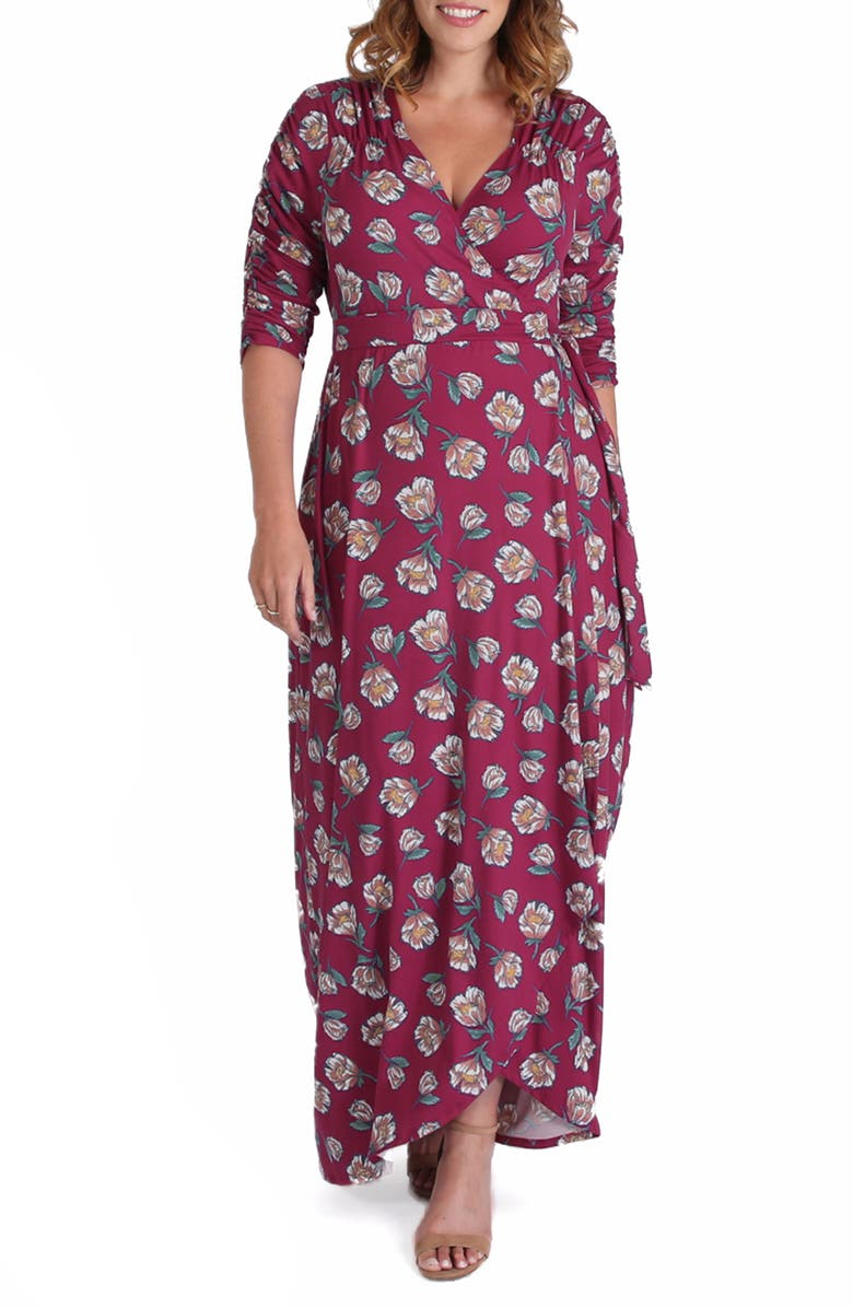 KIYONNA Meadow Dream Wrap Maxi Dress, Main, color, BERRY FLORAL PRINT