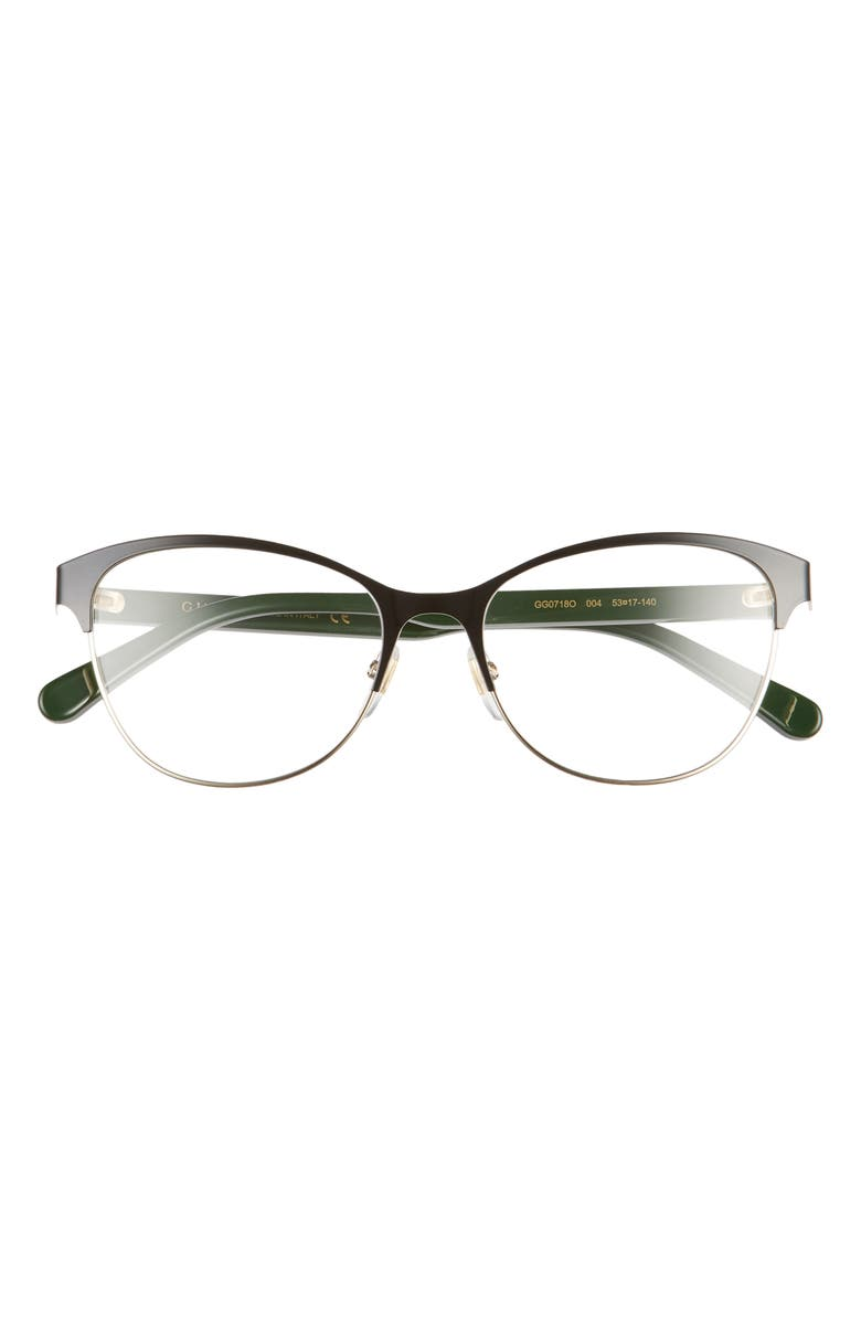 GUCCI 53mm Cat Eye Optical Glasses, Main, color, BLACK W GOLD