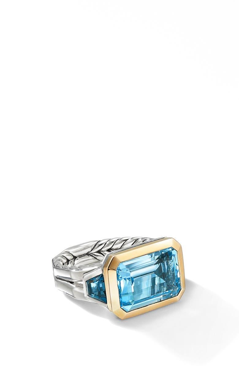 DAVID YURMAN Novella 3-Stone Ring, Main, color, BLUE TOPAZ