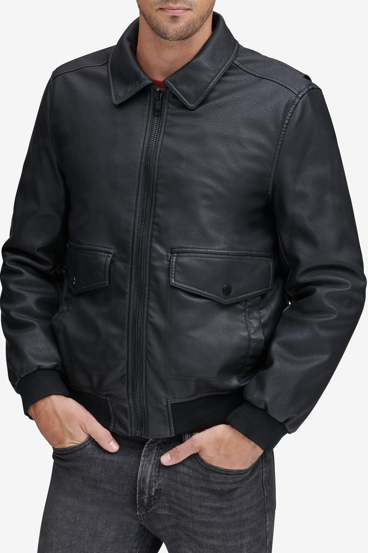Image of Andrew Marc Westerly Faux Leather Bomber Jacket