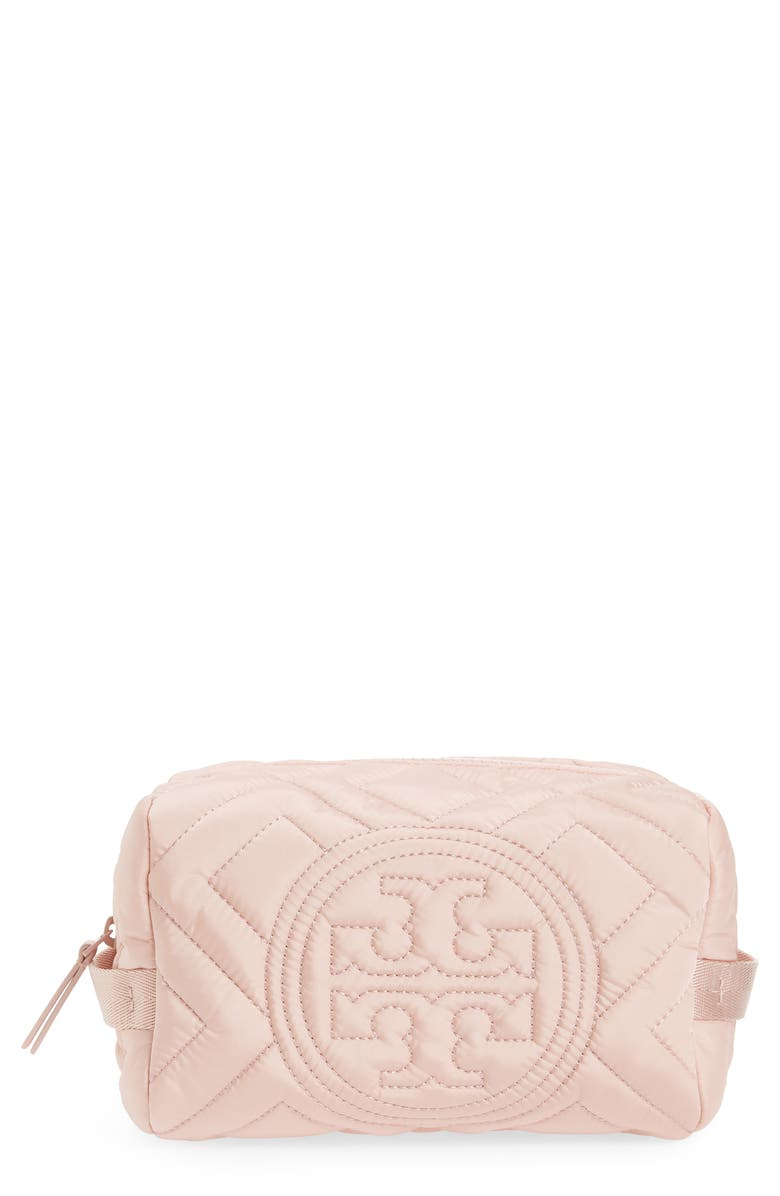 TORY BURCH Fleming Quilted Nylon Cosmetics Bag, Main, color, MINERAL PINK
