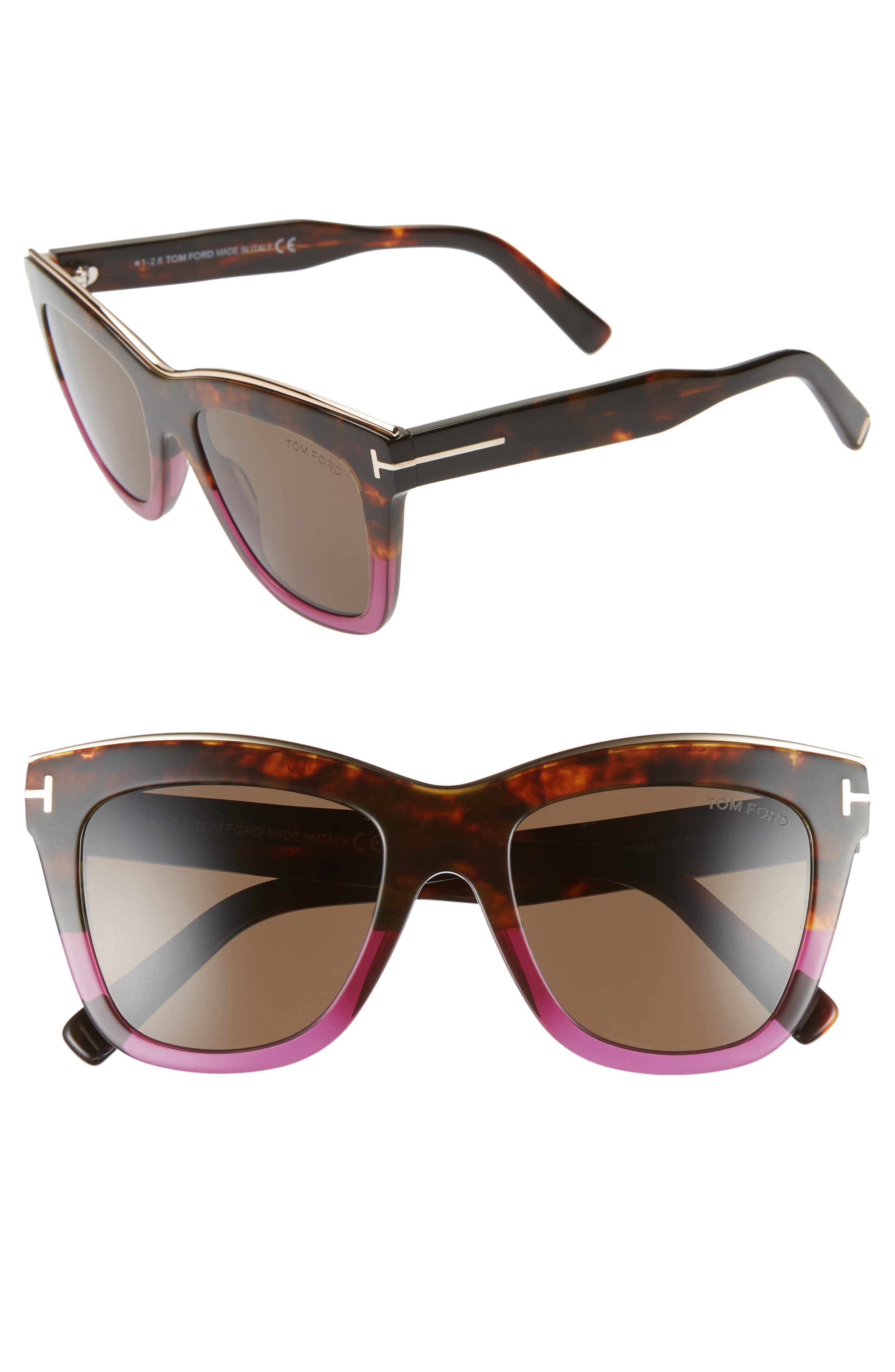 Tom Ford Julie 52Mm Sunglasses - Vintage Havana/ Purple/ Brown