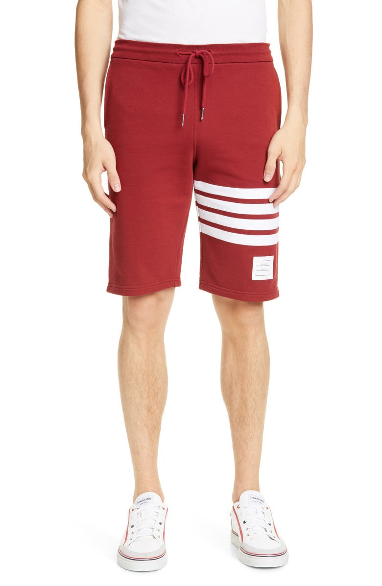 THOM BROWNE Four Bar Sweat Shorts, Main, color, MED RED