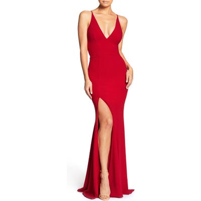 Dress The Population Iris Slit Crepe Gown, Red