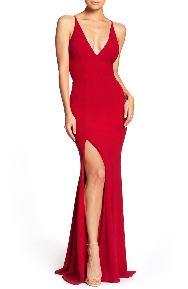 DRESS THE POPULATION Iris Crepe Trumpet Gown, Main, color, GARNET