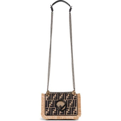 Fendi Kan I Raffia & Leather Small Shoulder Bag - Ivory