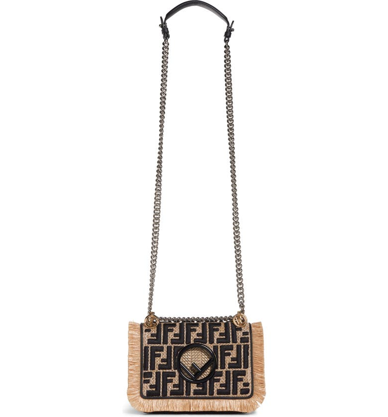 FENDI Kan I Raffia & Leather Small Shoulder Bag, Main, color, 900