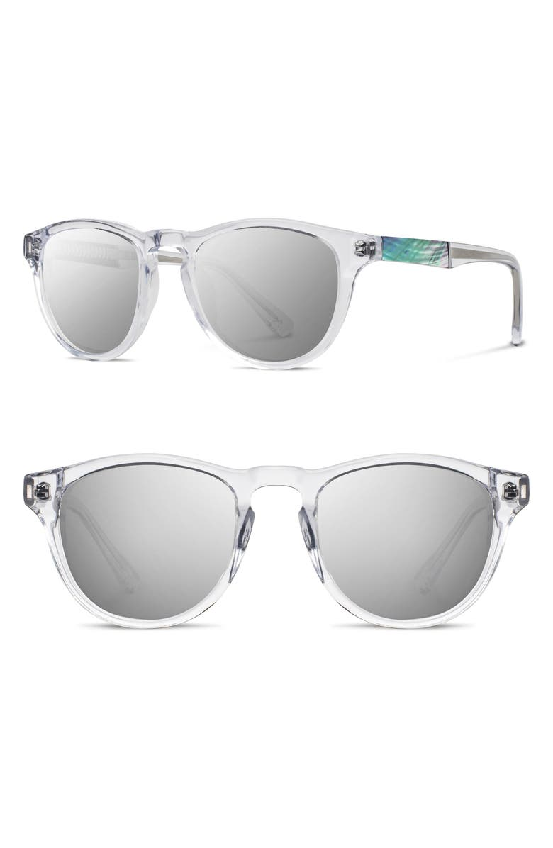 SHWOOD Ace 48mm Sunglasses, Main, color, CRYSTAL/ ABALONE SHELL/ SILVER