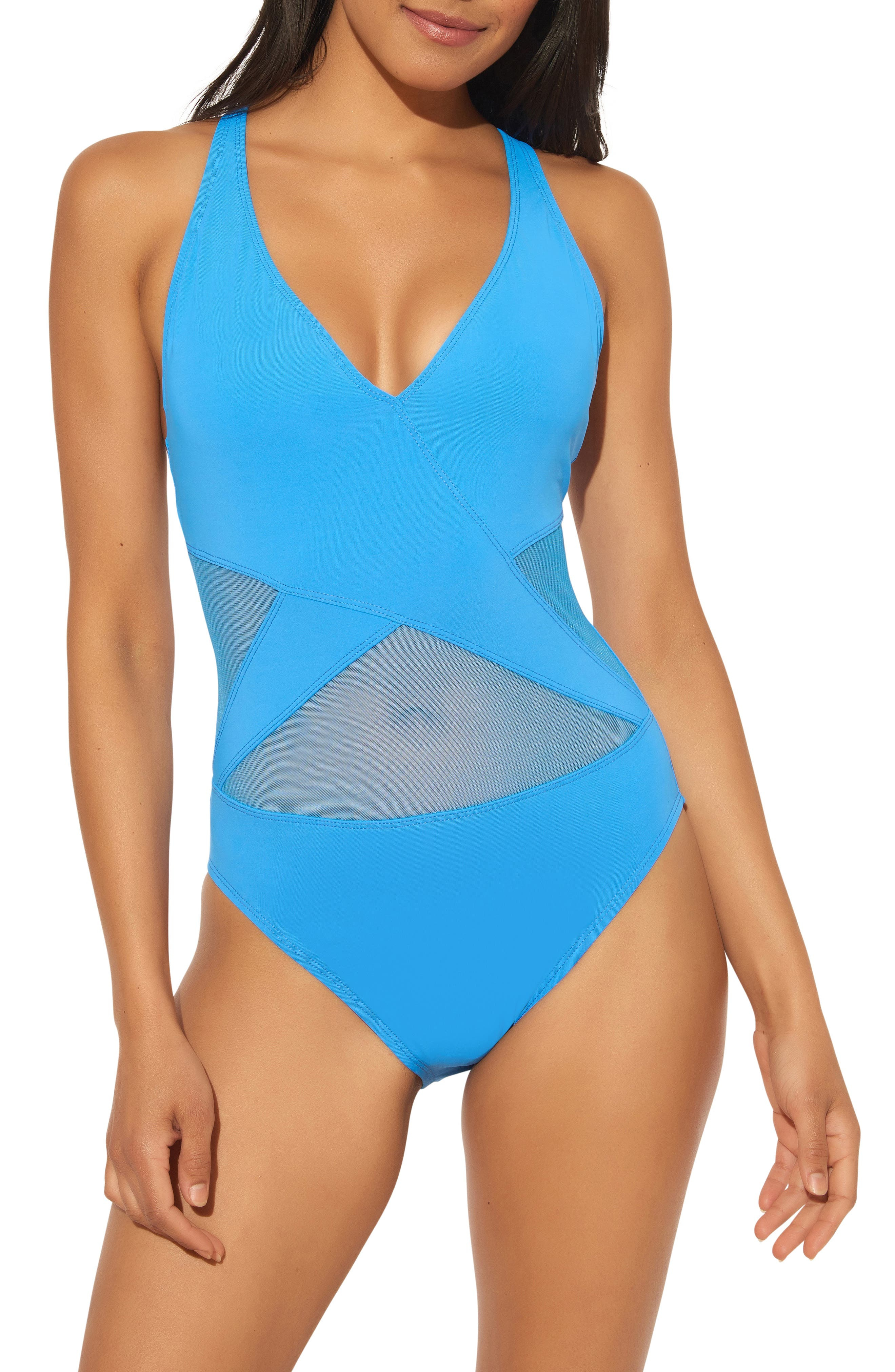 Women's Bleu By Rob Beattie Mesh Inset One-Piece Swimsuit