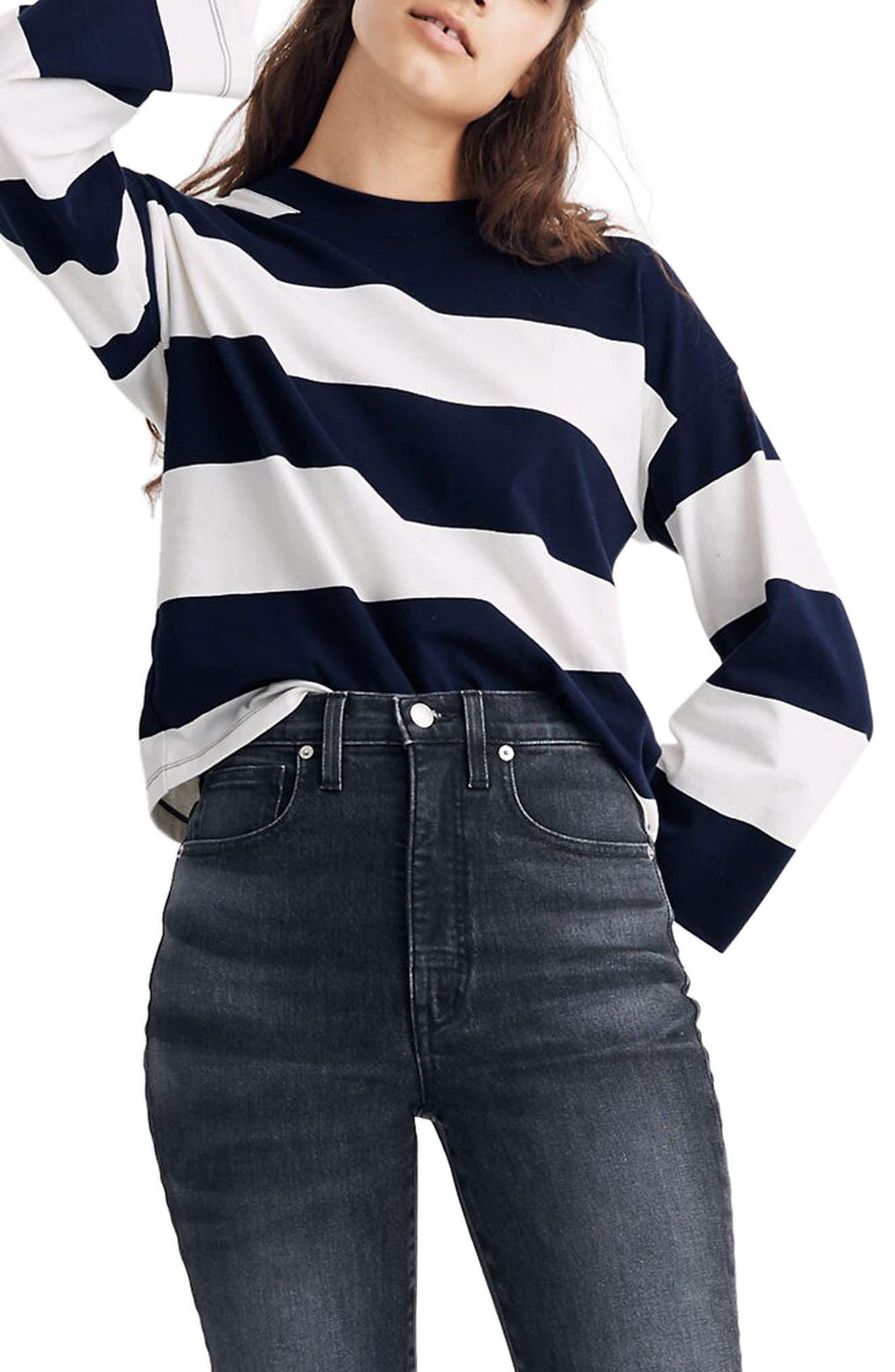 Rugby Stripe Easy Crop Long Sleeve Tee by Madewell