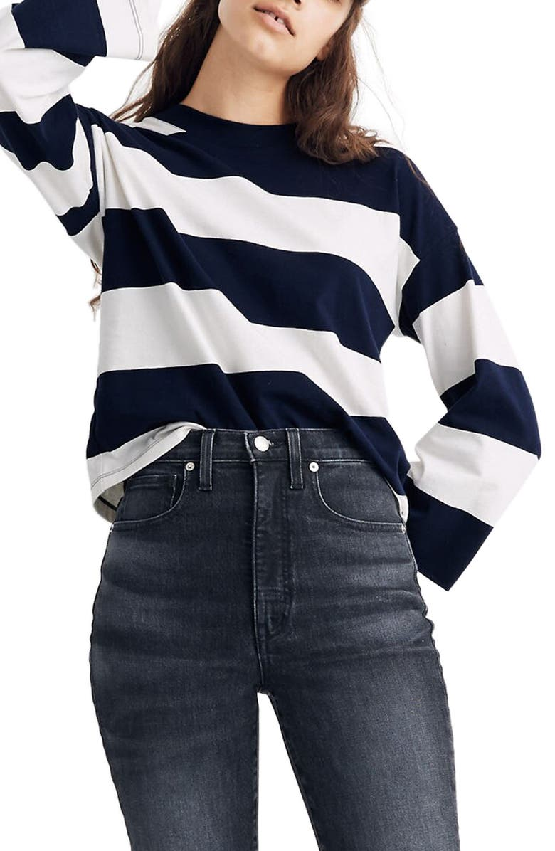 MADEWELL Rugby Stripe Easy Crop Long Sleeve Tee, Main, color, DARK NIGHTFALL SOURDOUGH STR