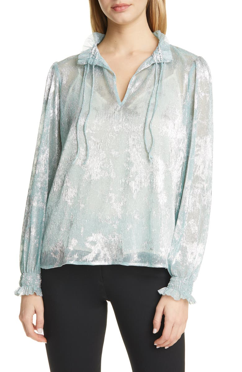 BA&SH Stana Metallic Detail Long Sleeve Blouse, Main, color, ARGENT