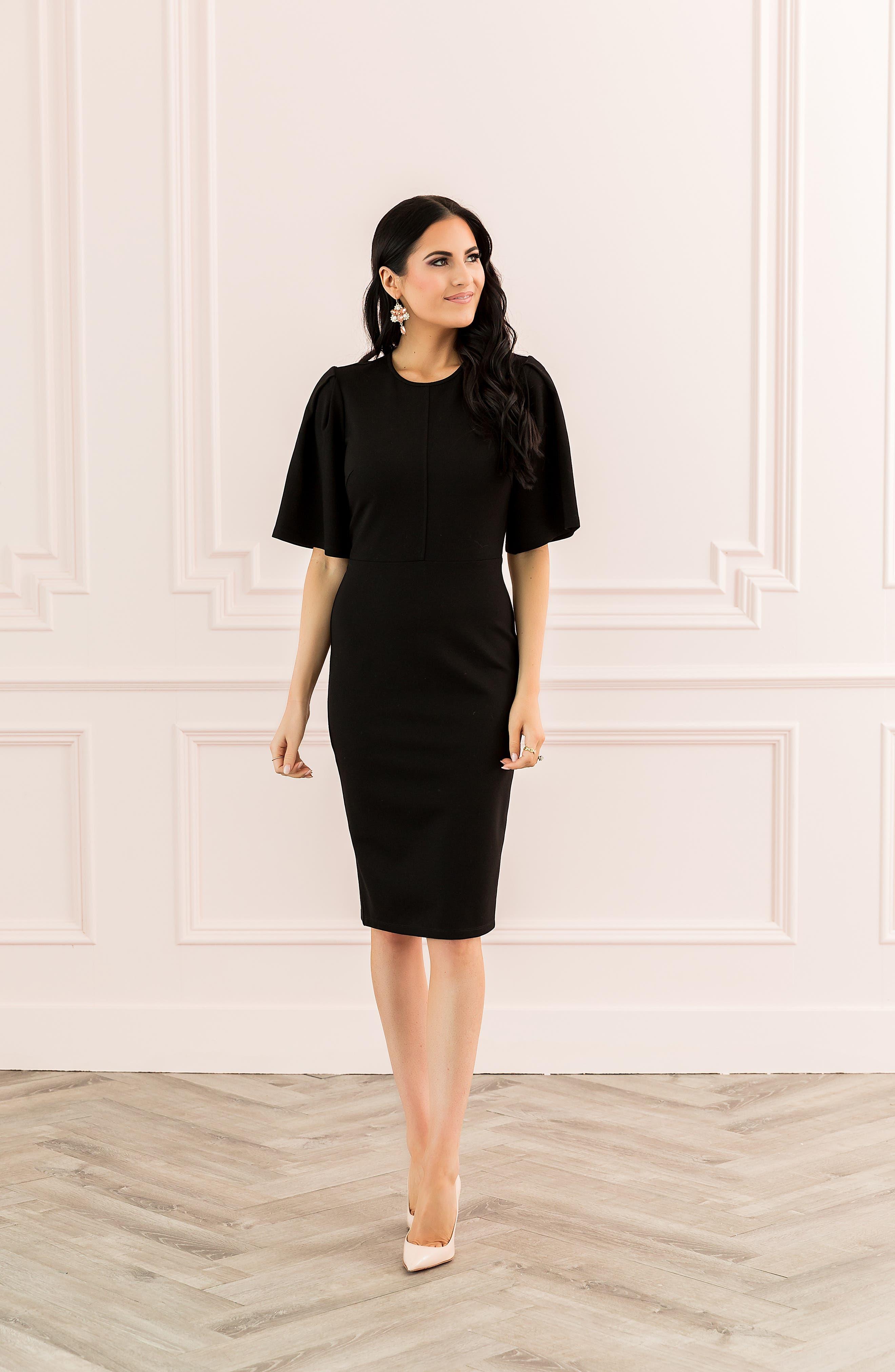 ,                             Flutter Sleeve Ponte Dress,                             Alternate thumbnail 8, color,                             BLACK