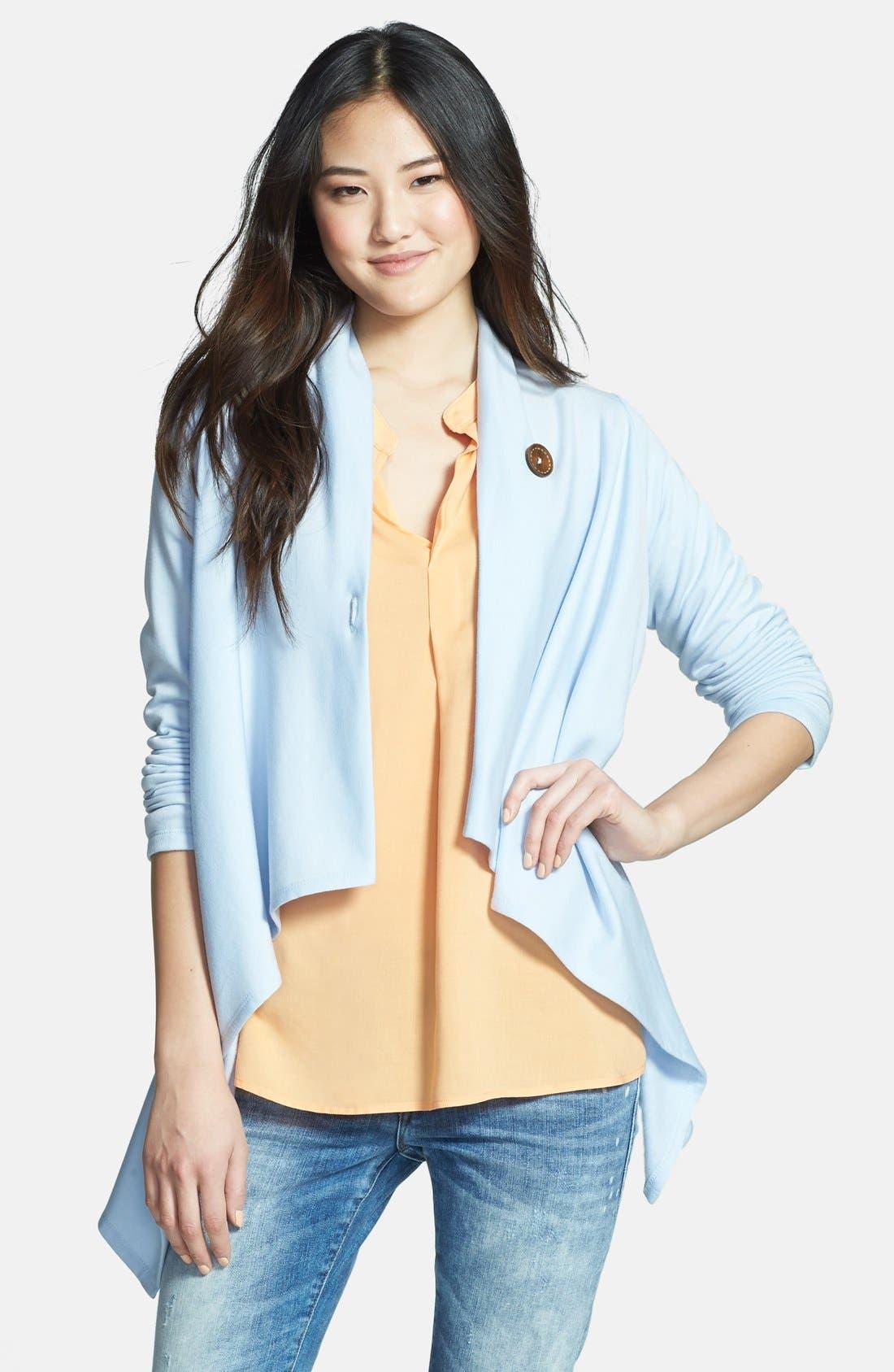 ,                             One-Button Fleece Wrap Cardigan,                             Main thumbnail 146, color,                             468