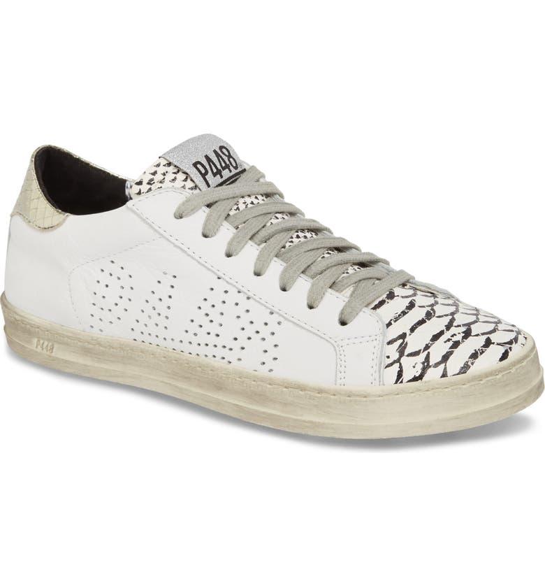 P448 John Low Top Sneaker, Main, color, WHITE PRINTED