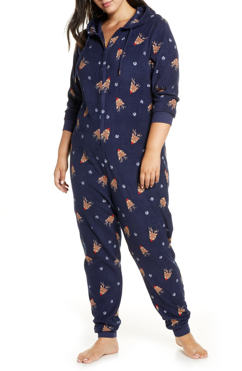 NORDSTROM Microfleece Sleep Romper, Main, color, NAVY PEACOAT HOLIDAY FESTIVE