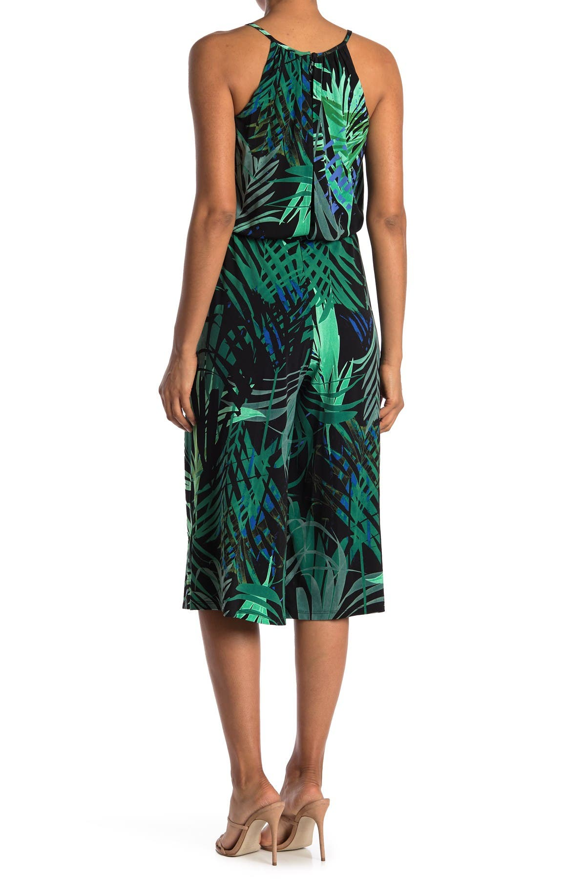 Image of London Times Jungle Palm Print Crop Leg Jumpsuit