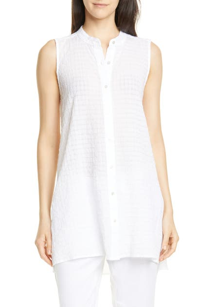 Eileen Fisher Tops TEXTURED SLEEVELESS STRETCH COTTON TUNIC TOP