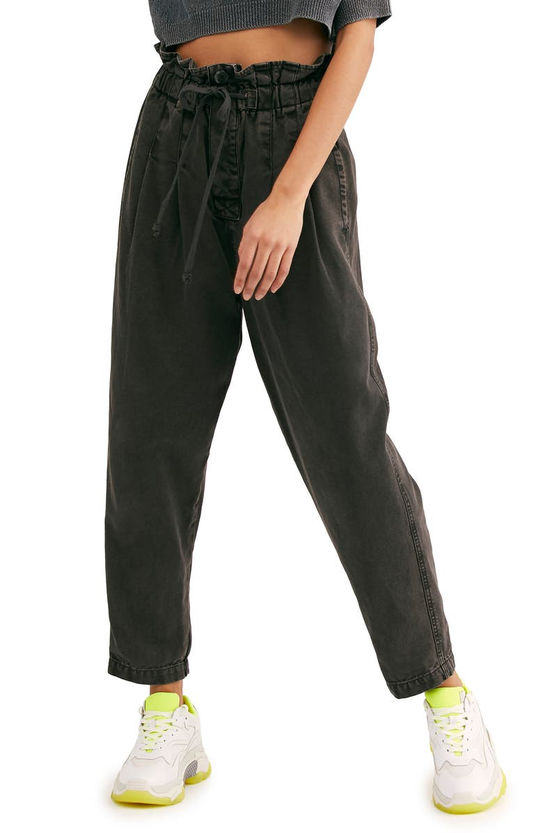FREE PEOPLE Margate Pleated Trousers, Main, color, WASHED BLACK