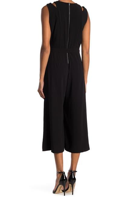 Image of Gabby Skye Sleeveless Tie Waist Crop Jumpsuit
