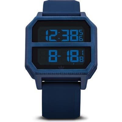 Adidas Archive Digital Silicone Strap Watch, 40Mm
