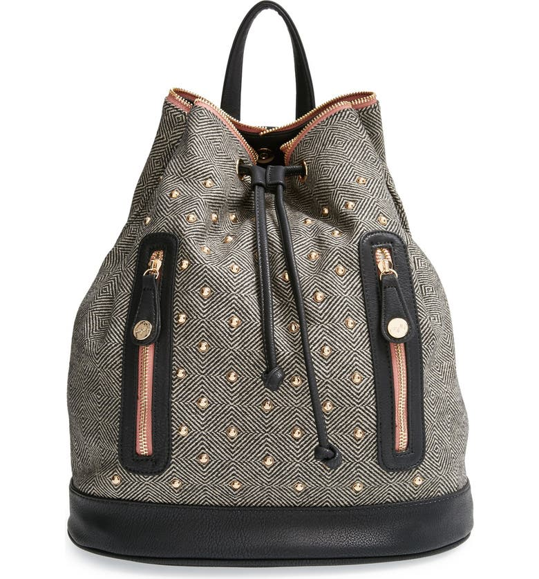 PRETTY SHIPS 'Aberdeen' Studded Backpack, Main, color, 001