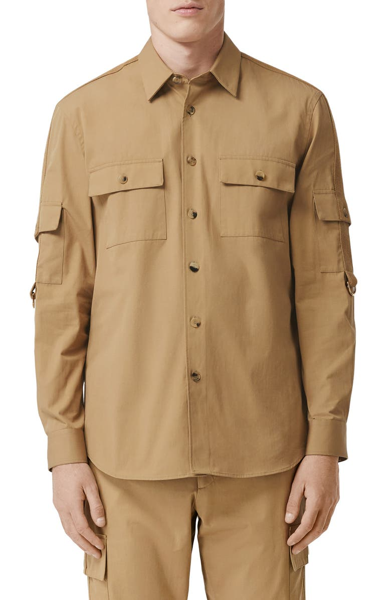 BURBERRY Crawford Roll Sleeve Button-Up Shirt, Main, color, PALE COFFEE