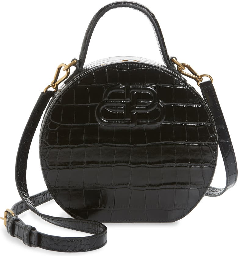 BALENCIAGA Extra Small Vanity Croc Embossed Leather Round Shoulder Bag, Main, color, BLACK