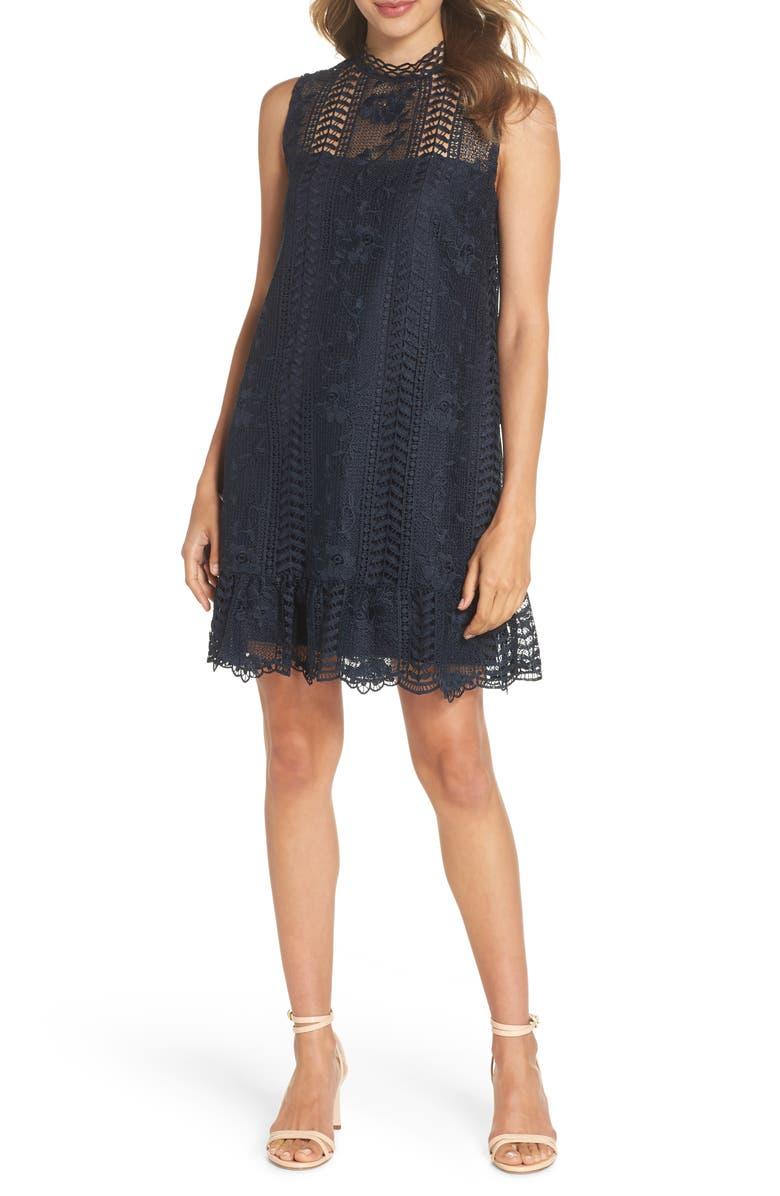 BB DAKOTA Sheri Mock Neck Sleeveless Lace Mini Shift Dress, Main, color, MIDNIGHT SKY