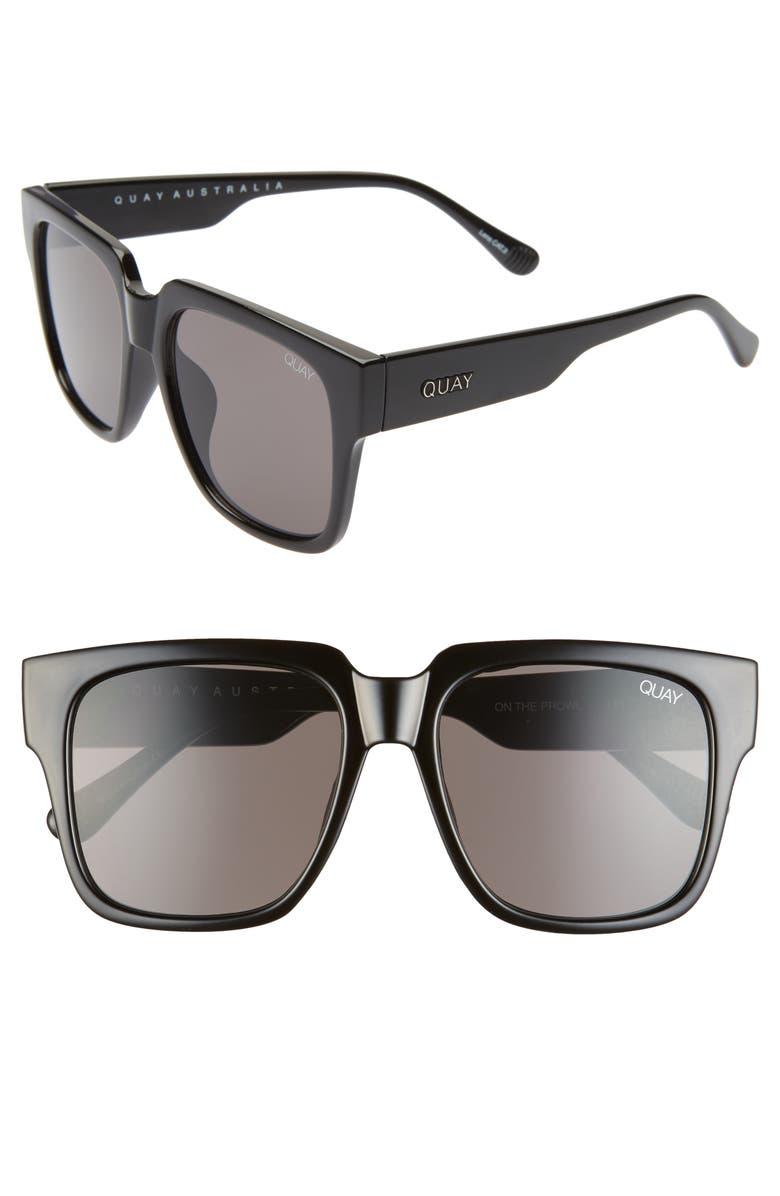 QUAY AUSTRALIA 'On the Prowl' 55mm Square Sunglasses, Main, color, BLACK/ SMOKE