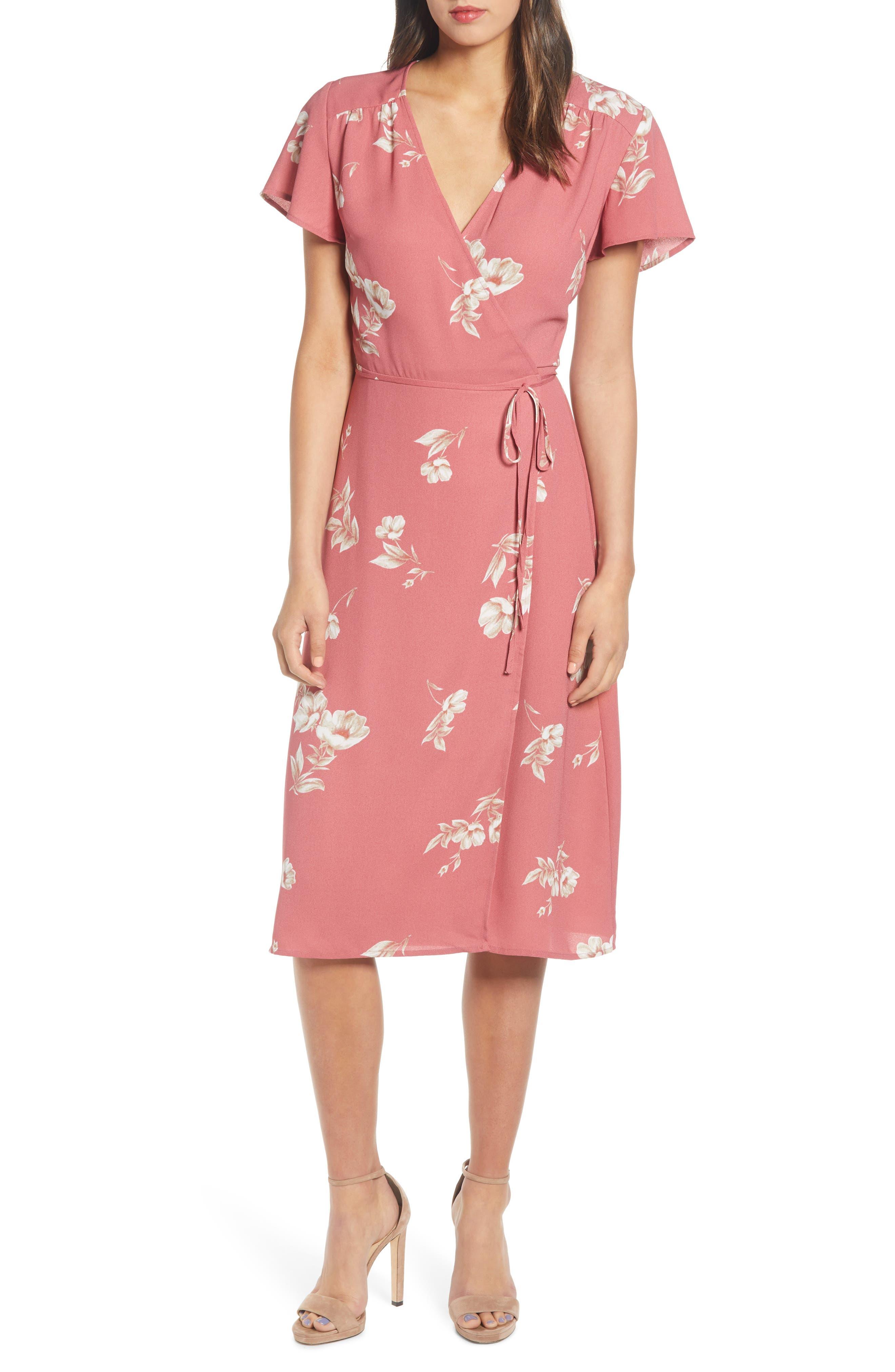 Leith Midi Wrap Dress, Red
