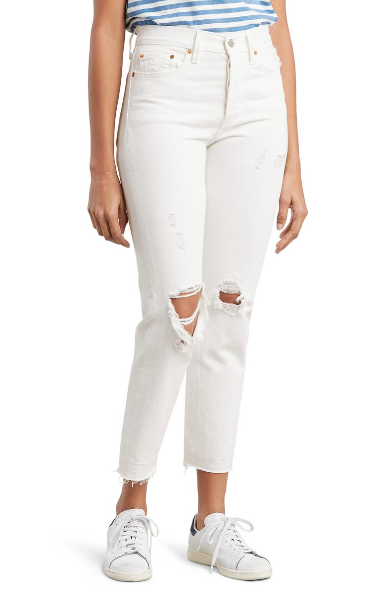 differently clear-cut texture factory price Levi's® Wedgie Ripped High Waist Ankle Slim Jeans (Light ...