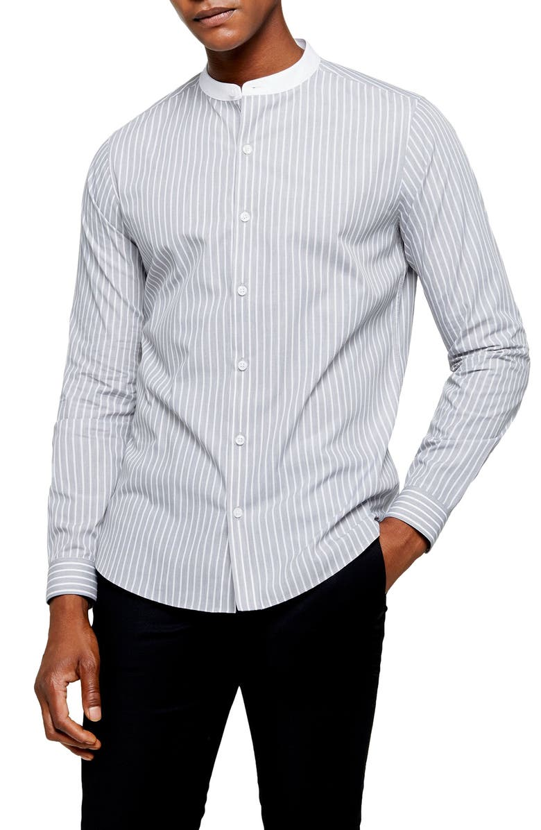 TOPMAN Grandad Slim Fit Stripe Button-Up Band Collar Shirt, Main, color, GREY MULTI