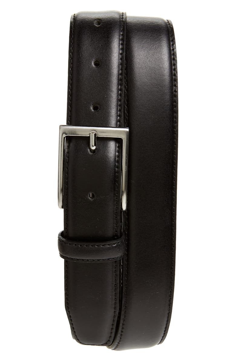 NORDSTROM MEN'S SHOP Jayden Leather Belt, Main, color, BLACK