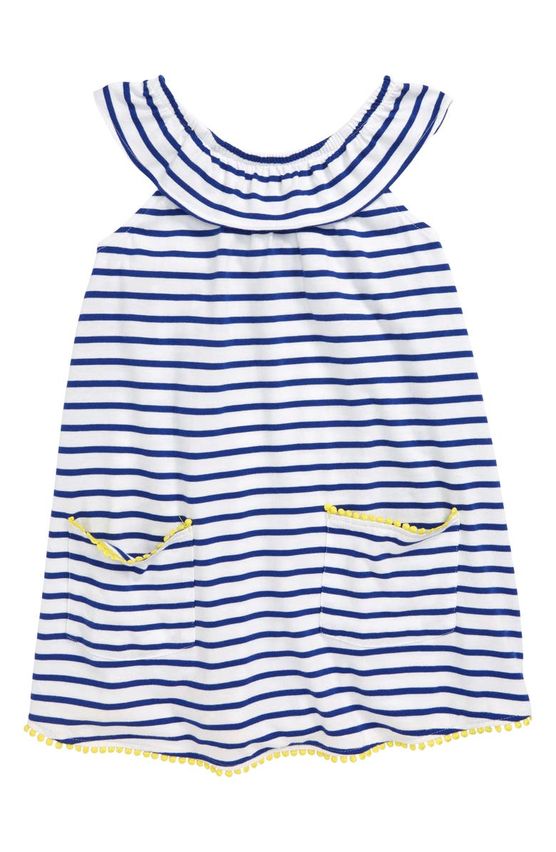 MINI BODEN Ruffle Tunic, Main, color, BLU WHITE/ BLUE WAVE