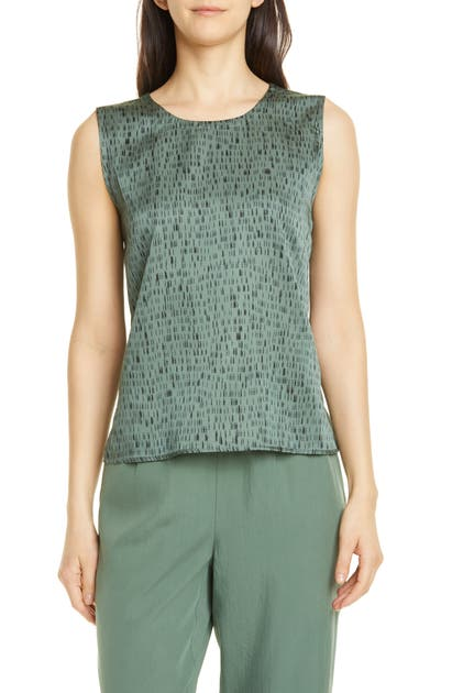 Eileen Fisher Tops ABSTRACT PATTERN SILK & COTTON SLEEVELESS TOP